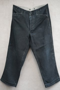 1940's indigo linen maquignon work trousers