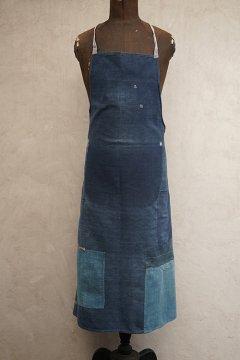 ~1930's patched indigo apron
