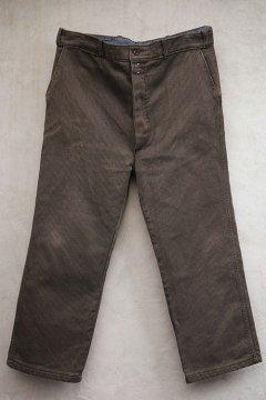 mid 20th c. brown salt&pepper pique work trousers