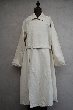 mid 20th c. French military H.M. double breasted linen cotton coat dead stock