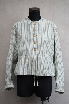 early 20th c. indigo stiped cotton blouse