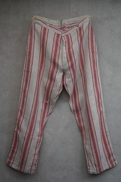 cir.1910's-1920's. red striped linen trousers