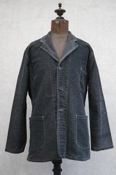 ~1940's black moleskin lapeled work jacket
