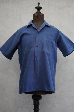 mid 20th c. blue cotton work shirt S/SL