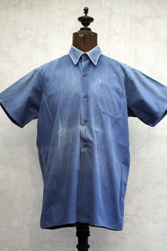 1930's-1940's blue cotton work shirt S/SL