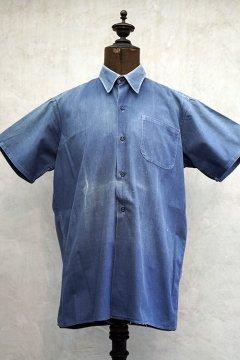 1930's-1940's blue cotton work shirt S/SL