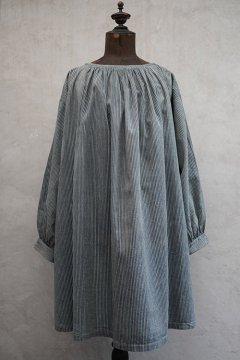 ~1930's gray indigo striped cotton smock