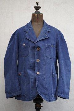 1930's-1940's 4 pockets blue cotton work jacket