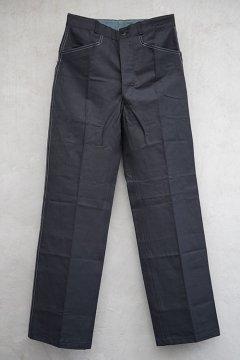 mid 20th c. black linen maquignon work trousers dead stock