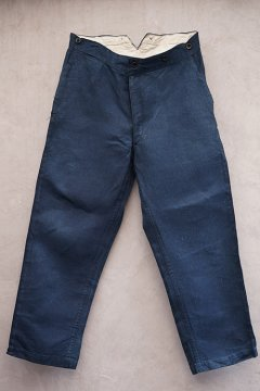 late 19th - early 20th c. indigo linen firefighter trousers