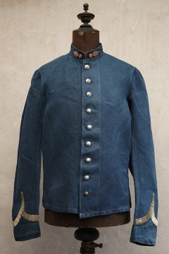 late 19th - early 20th c. indigo linen firefighter jacket