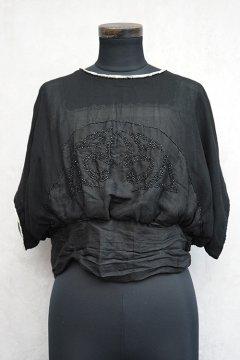 1910's beaded black silk chiffon top