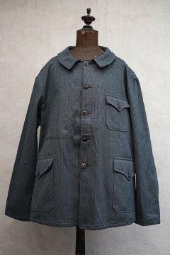 1940's-1950's blue gray salt&pepper pique hunting jacket dead stock