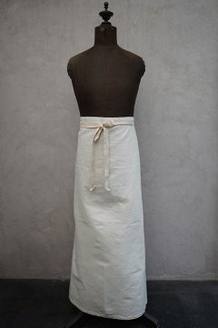 mid 20th c. ecru cotton linen apron dead stock