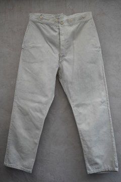 early 20th c.French military bourgeron cotton linen work trousers