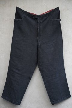 mid 20th c. black linen maquignon work trousers