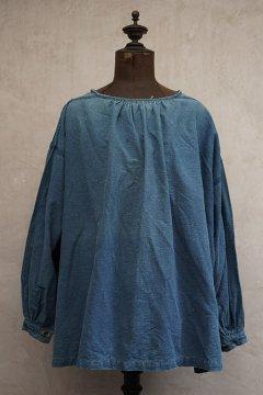 early 20th c. indigo linen cotton smock