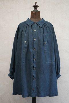 early 20th c. indigo linen smock open