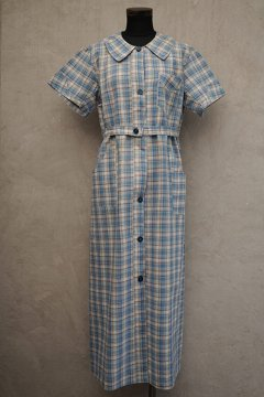 1930's -1940's blue checked S/SL dress