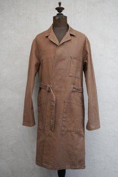 cir.1950's-1960's brown cotton wrap work coat