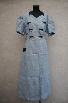cir.1930's indigo S/SL work dress dead stock