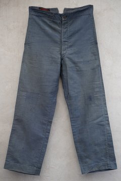 1940's blue cottonwork trousers darned