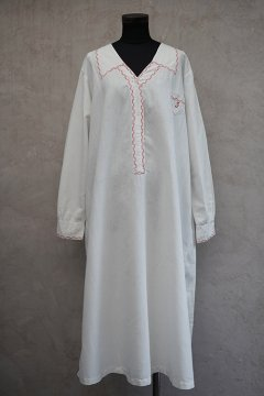 cir.1920's-1930's linen × cotton white long dress