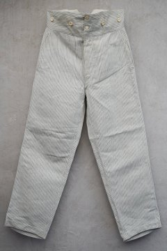 early 20th c. striped white linen cotton trousers
