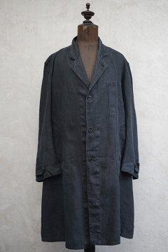 ~1940's black linen maquignon work coat
