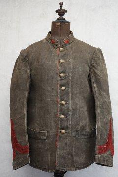 19th c. brown herringbone linen firefighter jacket