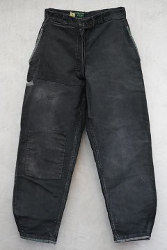 1940's patcheds black moleskin work trousers