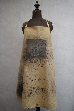 cir. 1940's painted brown canvas apron IV