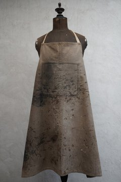 cir. 1940's painted brown canvas apron I