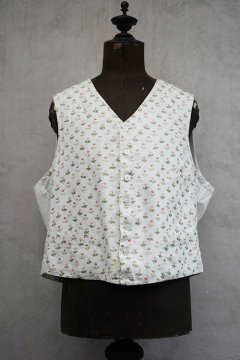 ~early 20th c. flower embroidered white cotton gilet