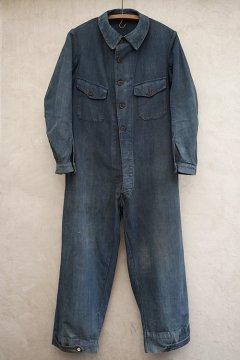 cir. 1930's indigo linen cotton all in one