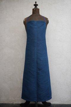 ~1930's indigo linen apron dead stock