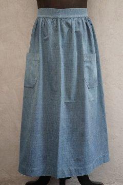 ~1930's indigo striped cotton apron