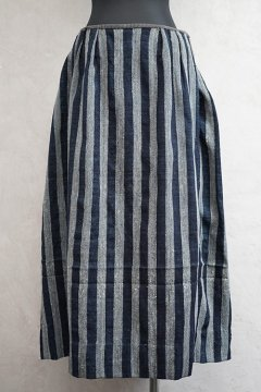 19th c. striped indigo skirt