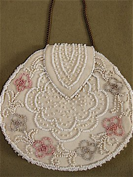 round beaded purse with chain