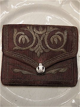 cir. 19th c. metal x leather purse