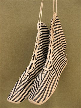 cir.1910's lace-up bathing slippers