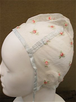 rose embroidered lace bonnet