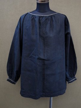 early 20th c. embroidered indigo smock