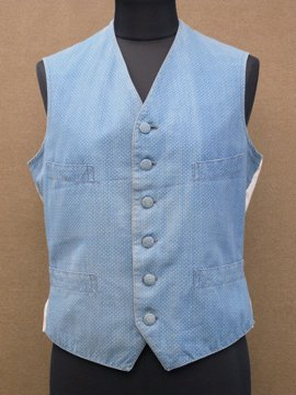 cir. 1890's dot print blue vest