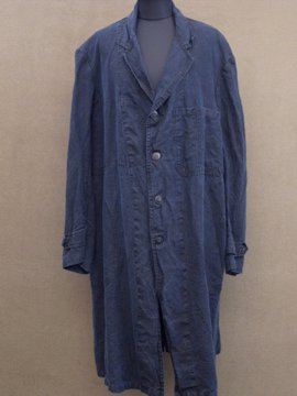 1930 - 1950's indigo linen work coat