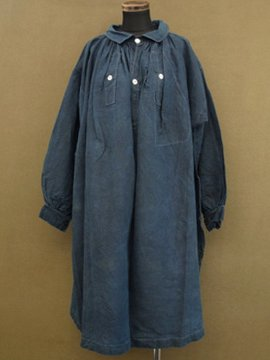 cir. late19th c. indigo linen smock