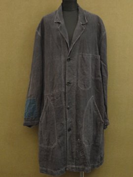 cir. 1930 - 1950's black linen work coat