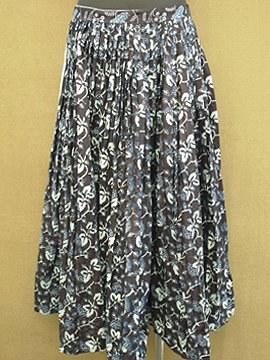 cir. 1940's printed indigo skirt