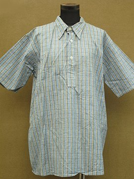 1930 - 1940's dead stock checked cotton shirt S/SL