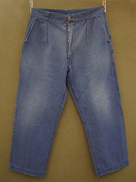 cir. 1930 - 1940's blue cotton work trousers